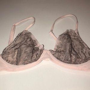 Free People Intimates Pink & Gray Lace Bra